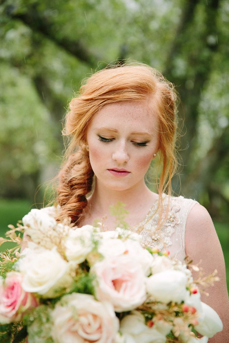 Wedding ideas unique wedding dress love that hair makeup for red
