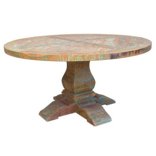48 Round Dining Table Solid Reclaimed Teak Wood Distressed Painted F