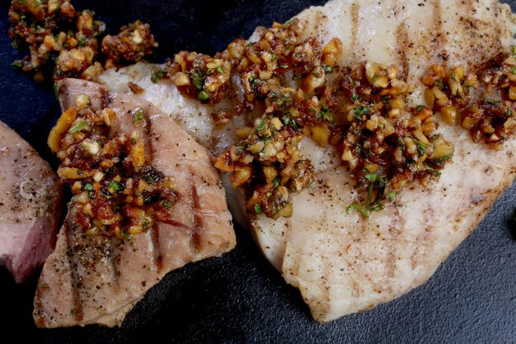 Grilled Fish Steaks With Walnut-Pomegranate Relish | Recipe