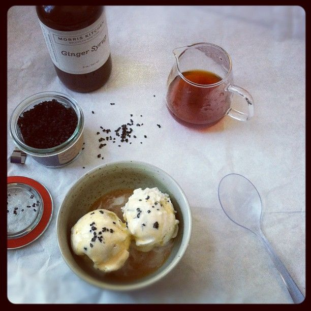 Cookie dough ice cream, poured earl grey tea and ginger syrup over ...