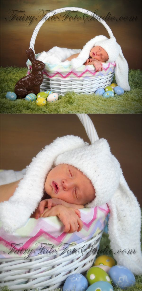 Just kids photography 2014 newborn boy baby bunny in an easter basket with chocolate bunny and eggs portrait easter portrait poses crochet bunny animal ears hat photo idea negle Image collections