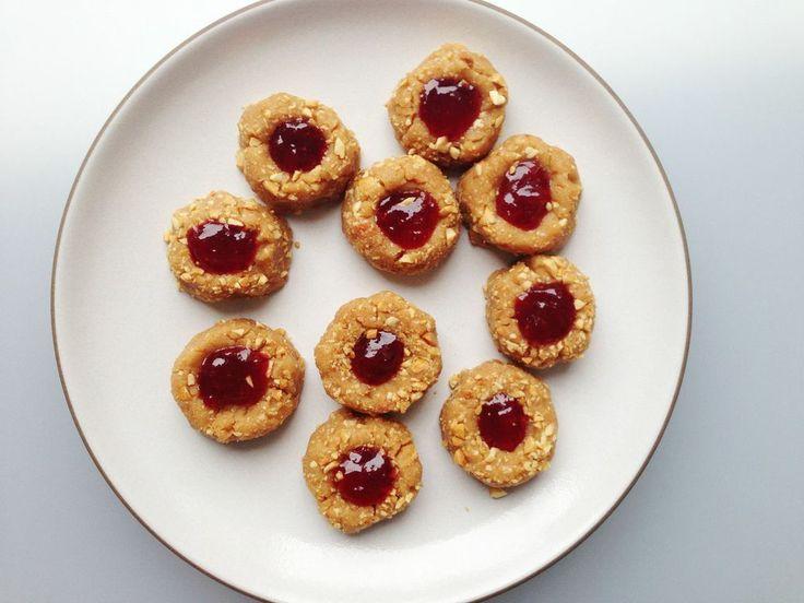 Thumbprint Cookies Makes 16Ingredients: 1/2 cup honey roasted peanuts ...