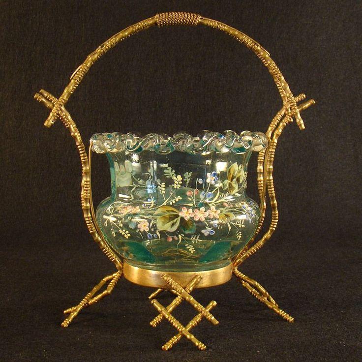 Сказочные Бронзовый Корзина с эмалированной вставки стекла искусства