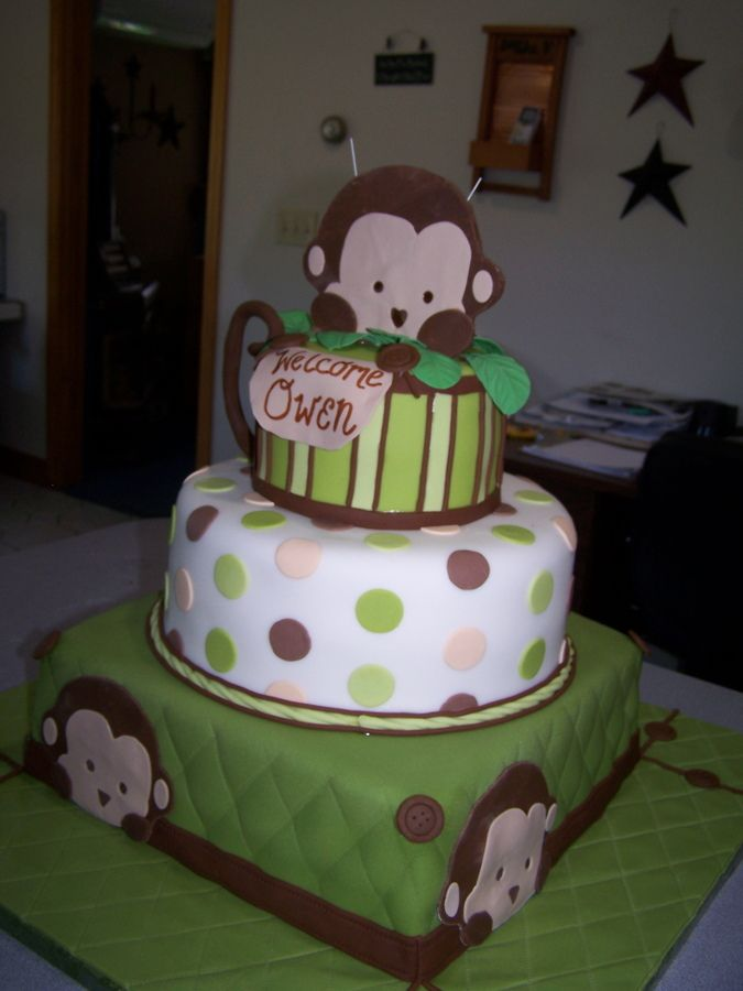 Monkey cake make a wish ideas pinterest - Baby shower monkey theme cakes ...