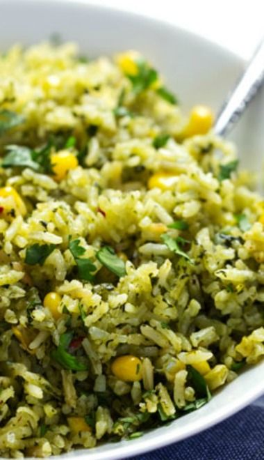 Green Mexican Rice with Corn | Recipe