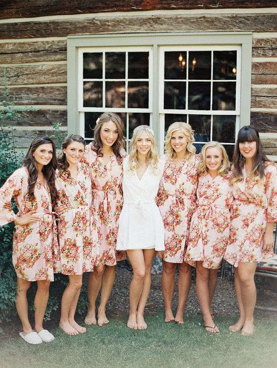 Bridesmaids Robes. Set of 7. Kimono Crossover Robe. Bridesmaids gifts. Getting ready robes. Bridal Party Robes. Floral Robes. Dressing Gown on Etsy, $175.00