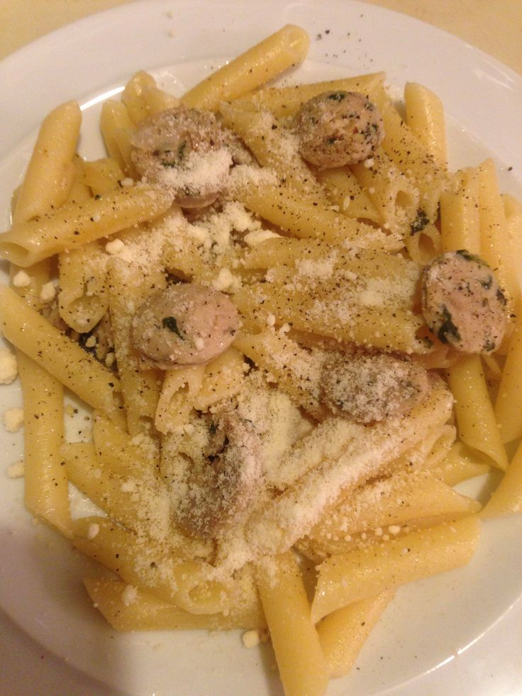 pasta and spinach and feta chicken sausage topped with black pepper ...