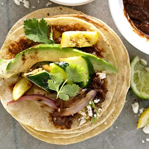 for cinco de mayo - grilled vegetable tostadas with quick mole sauce