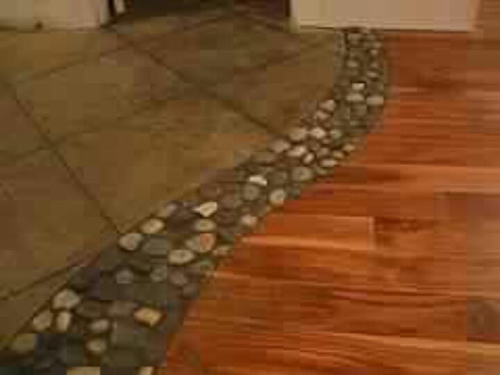 River Rocks Between Tile And Wood Floor Home Pinterest