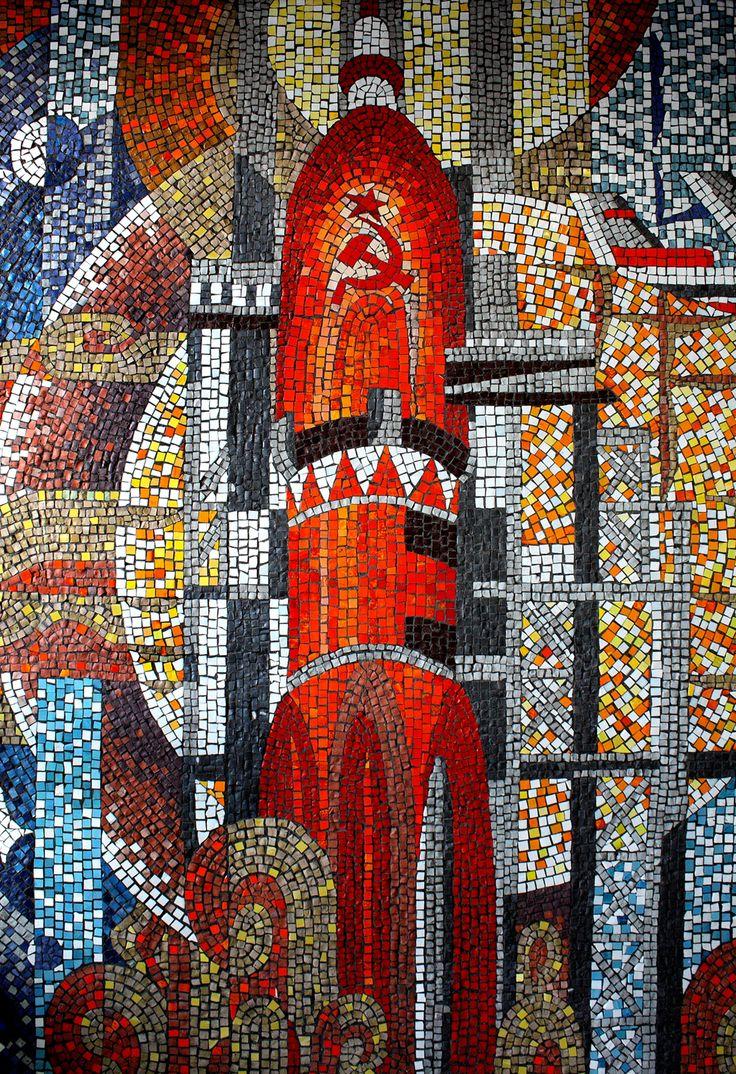 Soviet rocket mosaic mural, Ulan-Ude Airport.