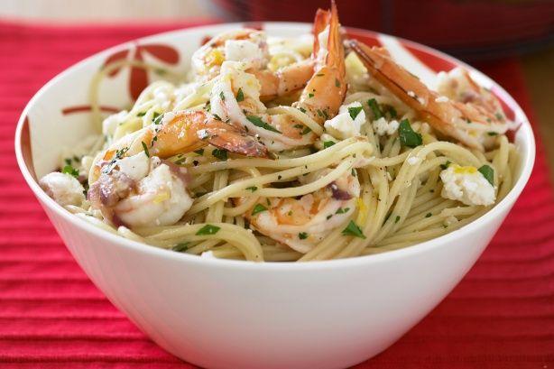 Garlic prawn, lemon and feta spaghetti | Pasta | Pinterest