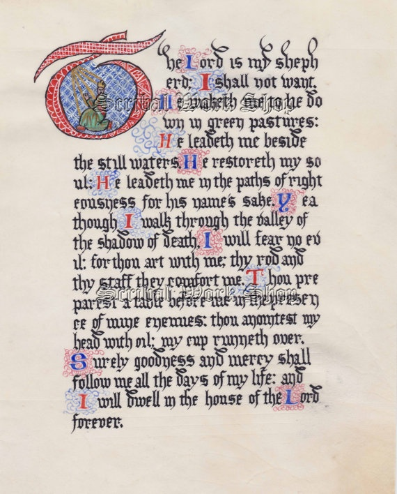 Psalm 23 by scribalworkshop olde style writing pinter