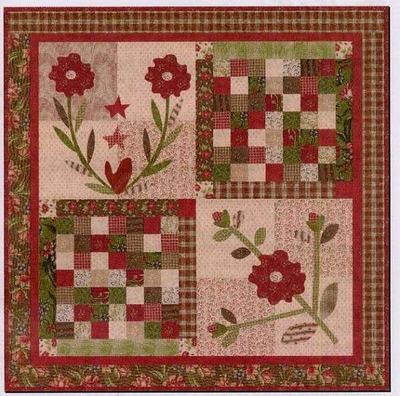 Folk Art Quilt Ideas : Primitive Folk Art Quilt Pattern - Roses are Red Applique Quilt by Ja?