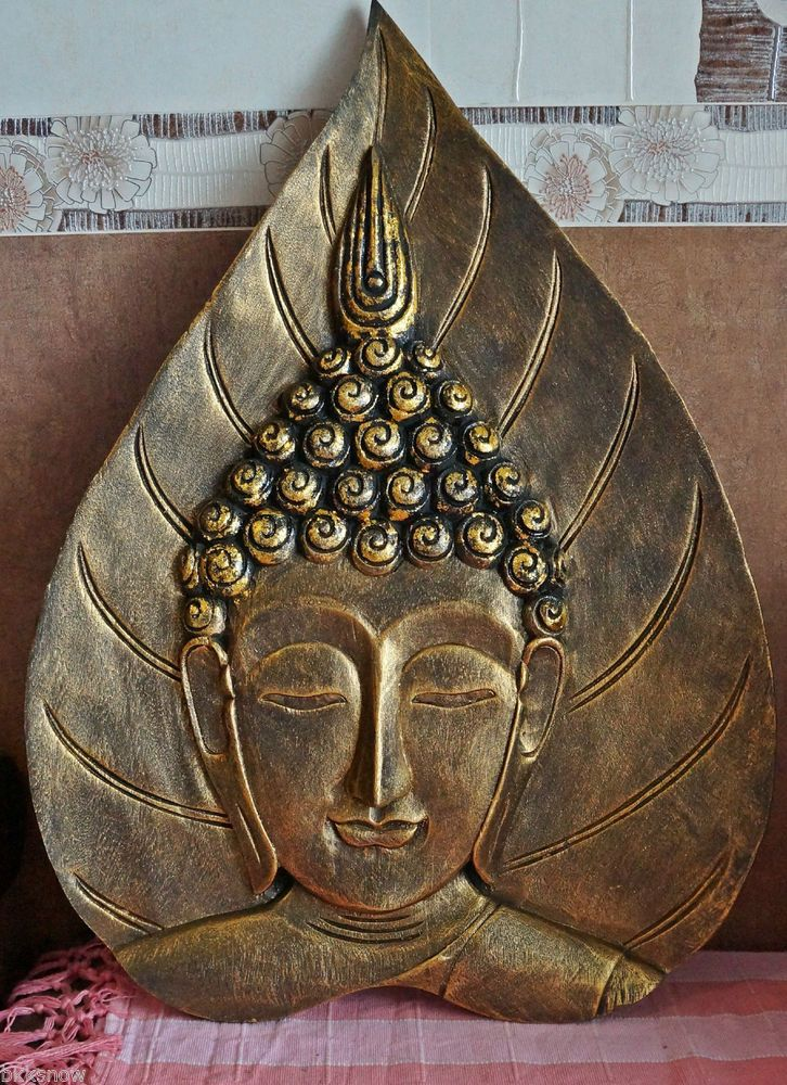 Buddha Face Thai Wooden Hand Carved Wall Decor Wall Art & Wooden Buddha Wall Art - Elitflat