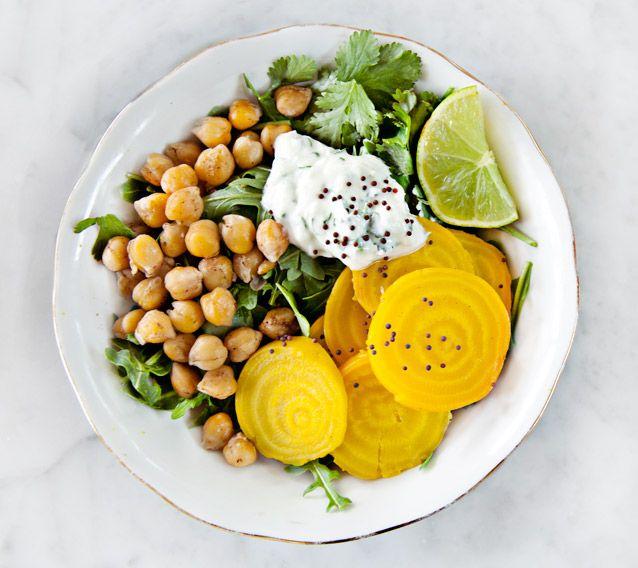 Roasted beets & chickpeas with jalapeño yogurt