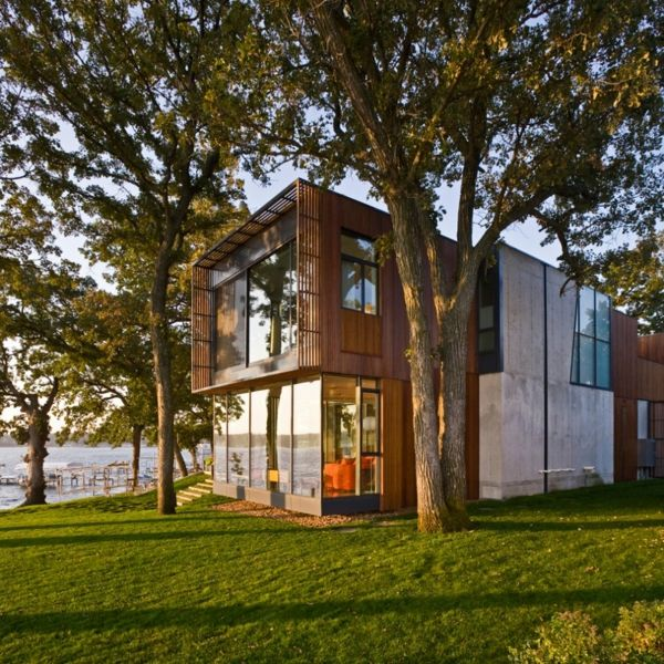 Minimalist architecture modern house on Lake Okoboji
