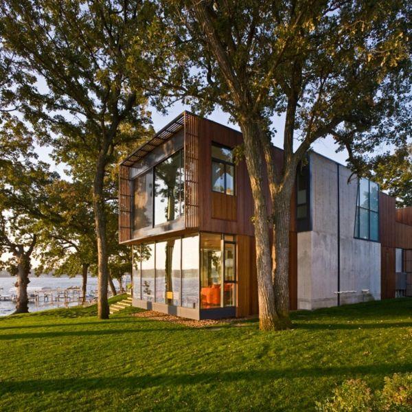 Minimalist architecture modern house on Lake Okoboji