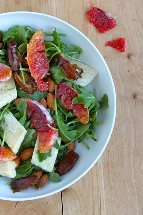 blood orange, date, parmesan, and almond salad
