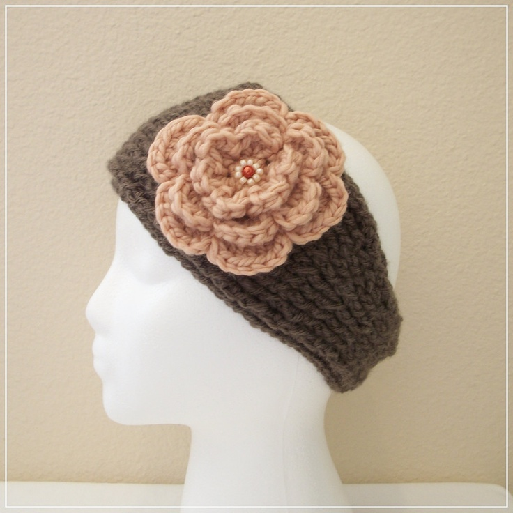 Crochet Pattern For Ear Warmer With Flower : Crocheted Knit-Look Headband/Ear Warmer in Taupe w Apricot ...