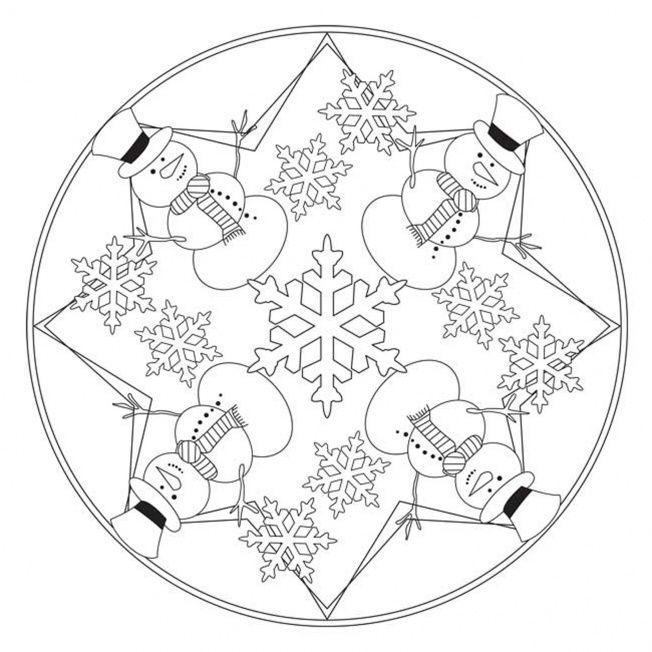 Snowman Mandala | Coloring Pages and mandalas | Pinterest