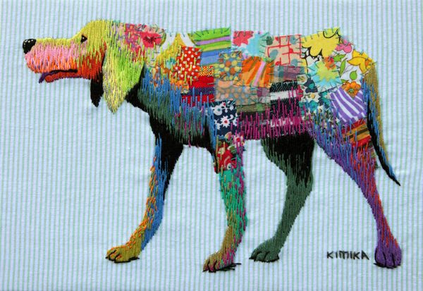 dog | Hand-embroidered illustration by Kimika Hara