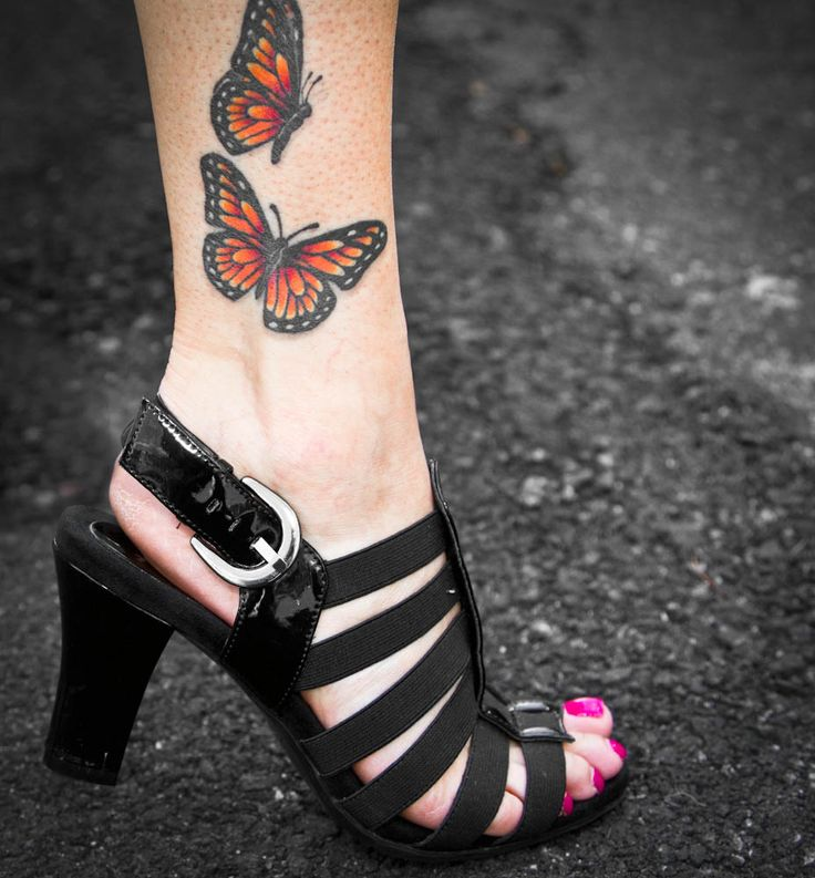 Monarch Butterfly Ankle Tattoo