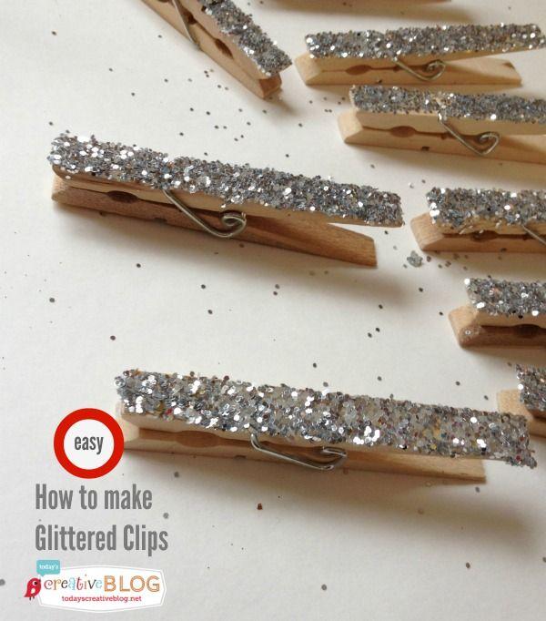 Glittered Clothespins DIY | TodaysCreativeBlog.net
