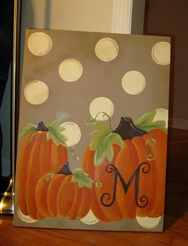 Family pumpkin fall thanksgiving halloween canvas sign for Fall pictures to paint