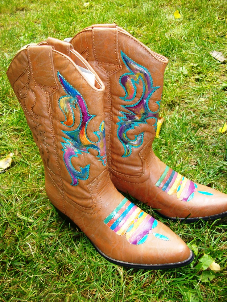 Creative  Shoes  Hand Painted Leather Laredo Cowboy Boots 5 5 6 Women39s Western