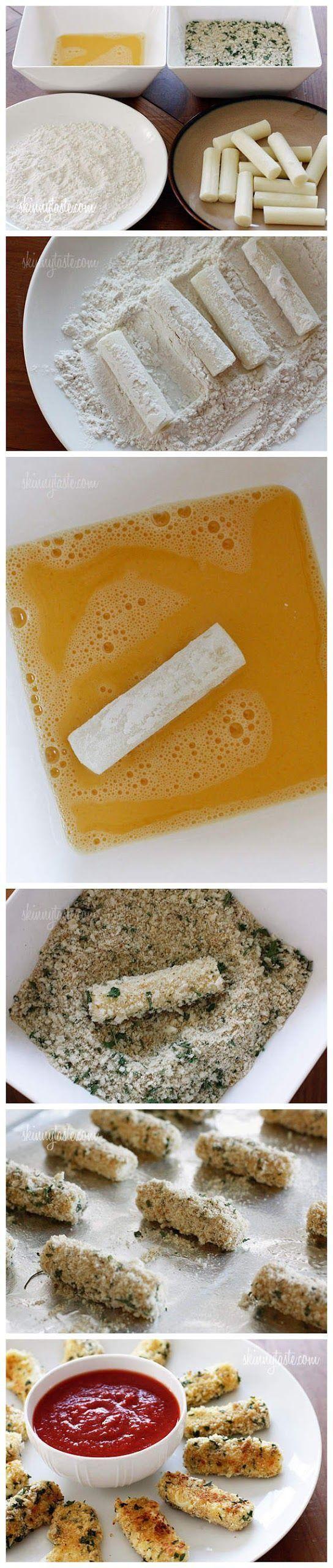 Skinny Baked Mozzarella Sticks - Love with recipe