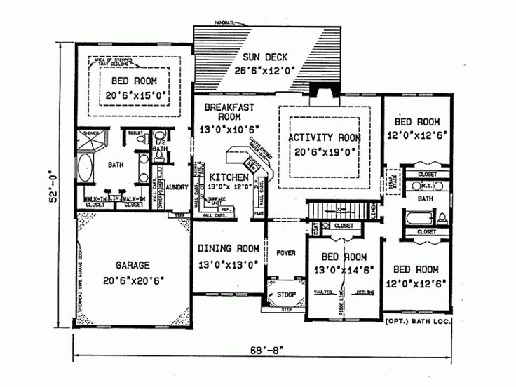 4 bedroom ranch house plans pinterest for 4 bedroom ranch