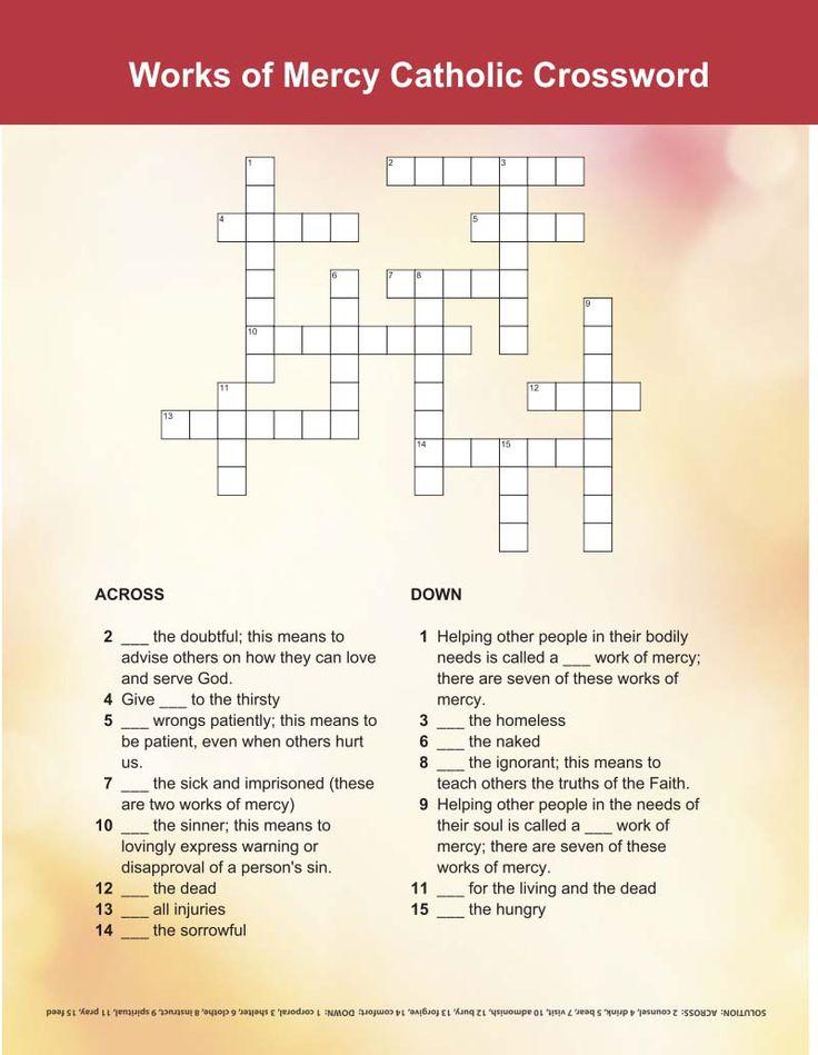 Works of Mercy Crossword - | Printable Activities for Kids | Pinterest