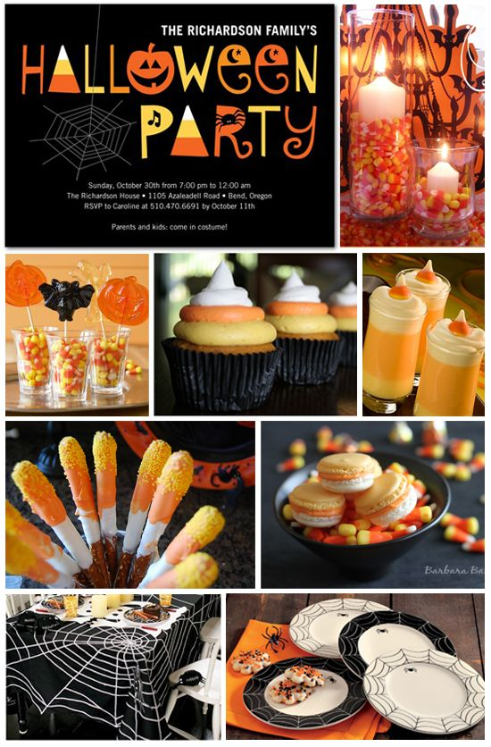 Candy Corn Halloween Party Inspiration Board - so much fun...thinking I need to host a summer Halloween Party to welcome my next bunny paintings...