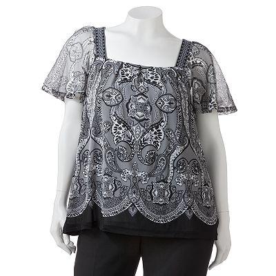 apt 9 paisley mesh top women 39 s plus plus size clothes accessor