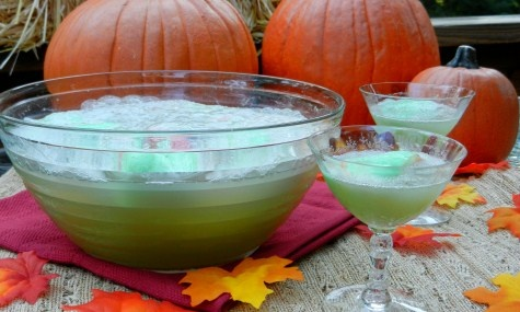 MONSTER SLIME PUNCH: Scoop ½ gallon lime sherbet into punch bowl ...