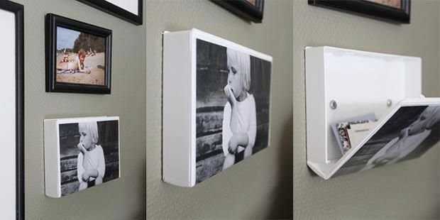 Caixa de VHS porta-retrato e porta-treco