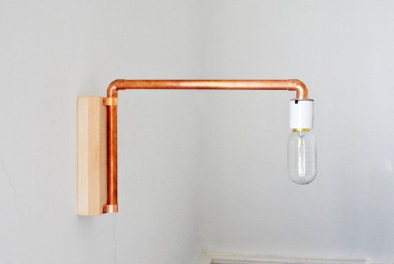 crftwrks copper tube swivel wall mounted bedside lamp. Black Bedroom Furniture Sets. Home Design Ideas
