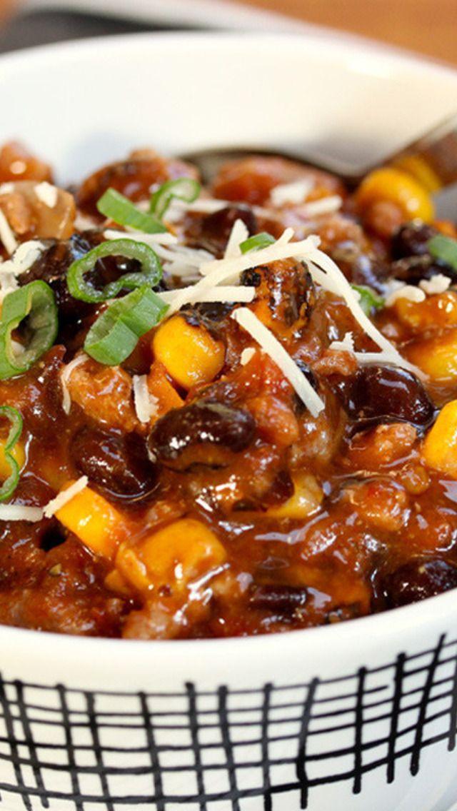 Smoky Turkey, Black Bean and Corn Chili | Good Eats | Pinterest