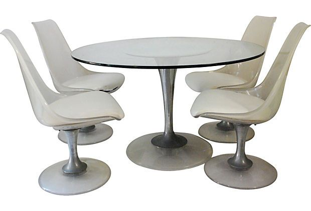Lucite Chrome Dining Table 4 Chairs