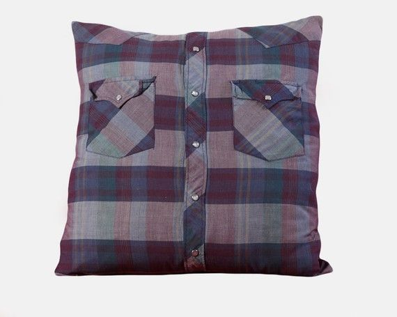 Western shirt pillow. My sister is having a couple of these made from my grandfather s closet ...