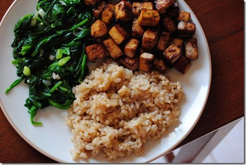 Baked tofu, brown rice, spinach