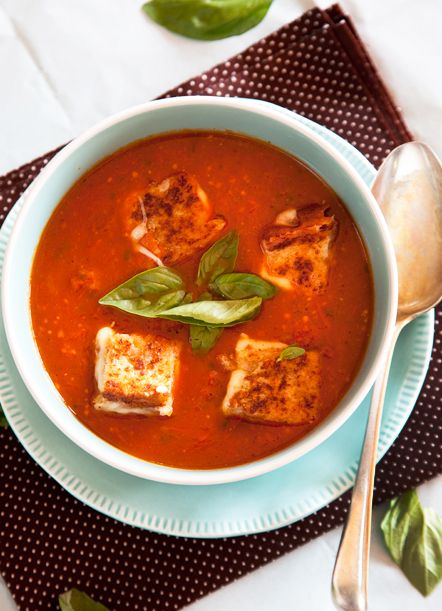 Roasted Tomato and Basil Soup served with homemade mozzarella croutons ...