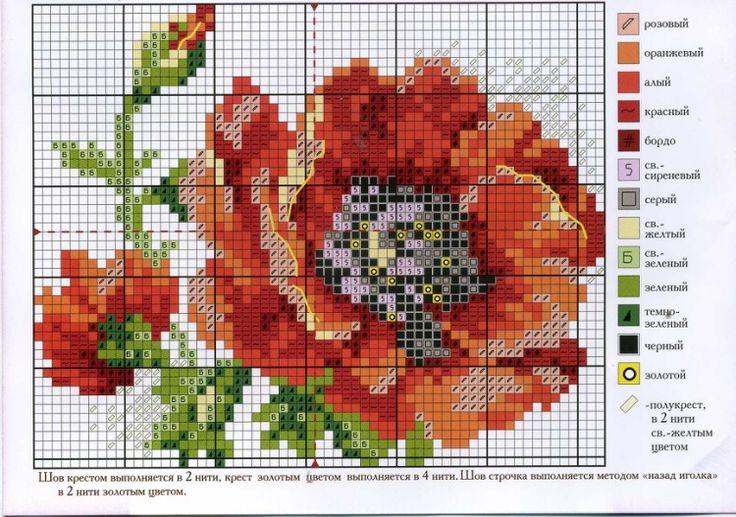 Схема вышивки крестиком один мак 736