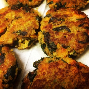 Sweet potato, spinach, quinoa cakes with curried yogurt. (Grill on ...