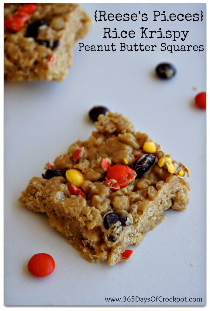 Reese's Pieces Rice Krispy Peanut Butter Squares Recipe #peanutbutter ...