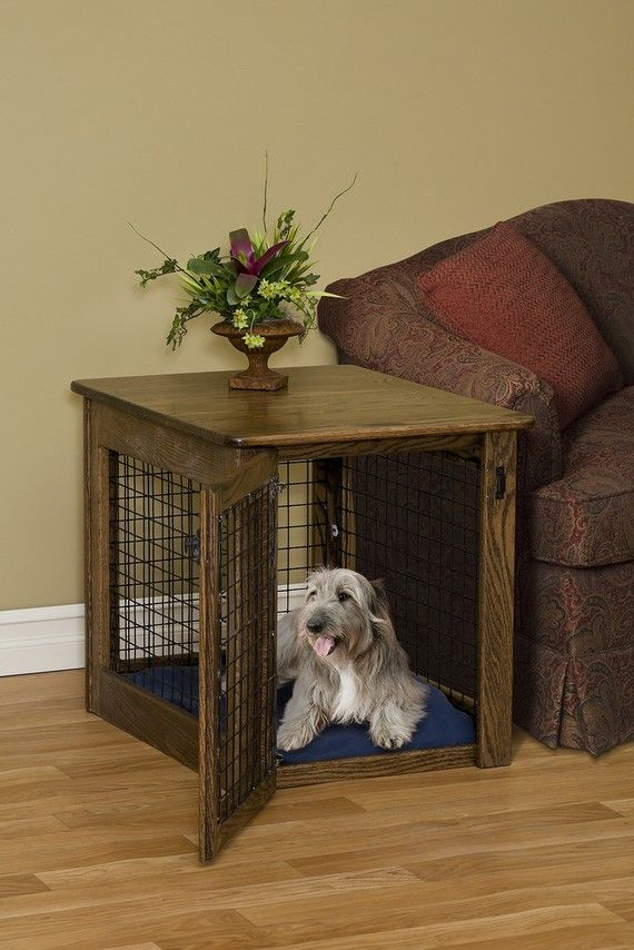 Amish Craftsman Wooden End Table Dog Crate Puppy Medium Size