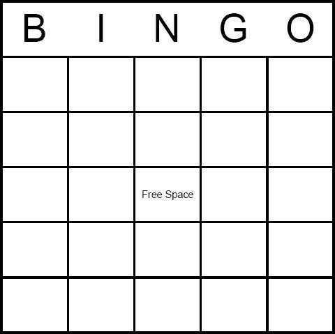 Fill In Bingo Sheet Calendar Template 2016