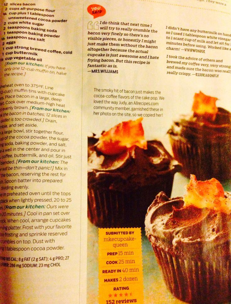 Dark Chocolate Bacon Cupcakes | Food & Spirits | Pinterest