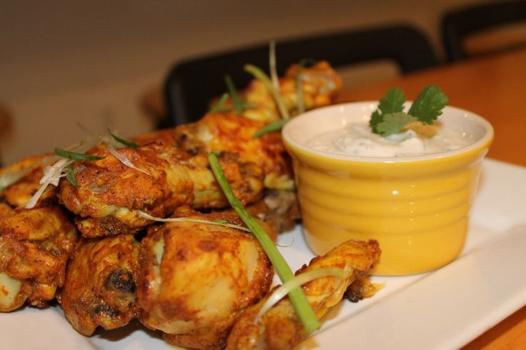 Tandoori Style Chicken Wings with Cilantro Lime Yogurt Dipping Sauce
