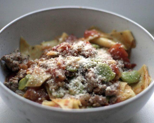 Maltagliati with favas, tomatoes, and sausage.